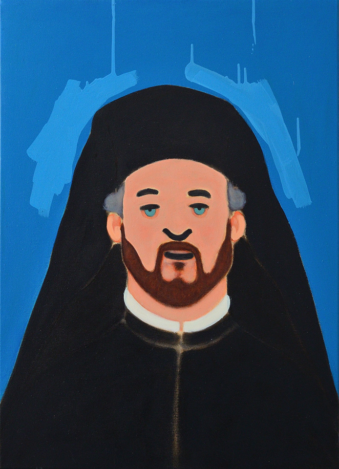 Priest, Contemporary painting by romanian artist Augustin Razvan Radu
